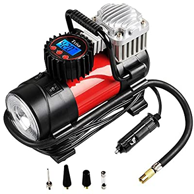 Tcisa Portable Air Compressor Pump 150 PSI, 12V 140W Auto Digital Car Tire Inflator Gauge