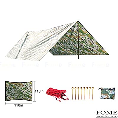 Camping Tarp,FOME Waterproof Portable Outdoor Awning Sunshade Tarp Cover Tent Shelter Camping Shelter Rain Survival Tarp Camping Mat with Storage Pouch for Hiking,Backpacking,Travel(108x108in)