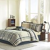 Intelligent Design Robbie Queen Size Bed Comforter Set Bed In A Bag - Blue Navy, Plaid – 9 Pieces Bedding Sets – Ultra Soft Microfiber Bedroom Comforters