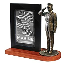 Khaki Army MD107W US Marine Female Soldier in Dress Blues Saluting on Wood Base with 4x6 Photo Frame
