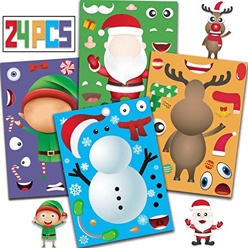 Joy Day 24 Make A Snowman/Santa Claus/Elf/Reindeer Game Stickers Christmas Party Games for Kids Make Your Own Christmas Stickers Xmas Party Favors Decorations Supplies Games DIY Crafts (Easy Craft Xmas)