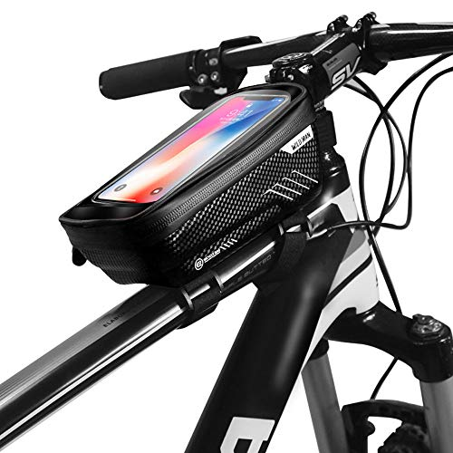 JOSPOWER Bicycle Bag Bike Frame Bag Top Tube Phone Bags Sensitive Touch Screen Waterproof Handlebar Front Phone Frame Bag Holder for Cellphone Below 6.2 Inch (E2 Black)