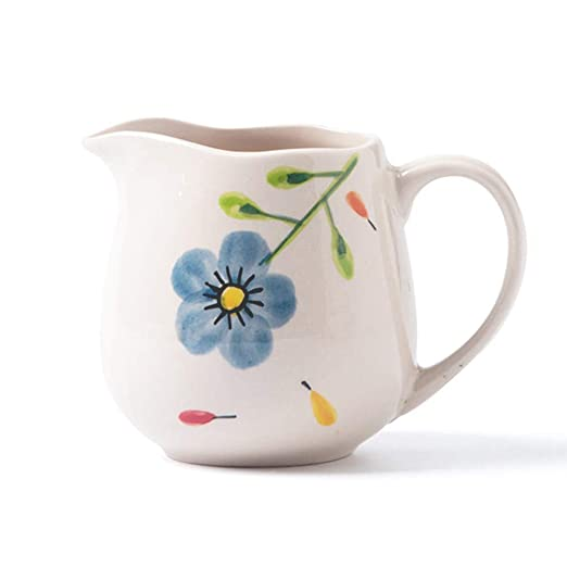 Jarra de leche de café de cerámica con flores azules, 13 ...