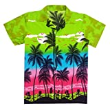 Virgin Crafts Men's Hawaiian Shirt Short Sleeve Big Palm Print Casual Fashion Beach Shirt