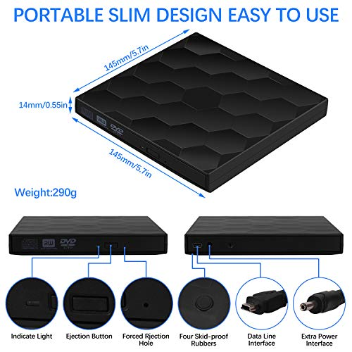 External CD/DVD Drive USB 3.0 Portable Burner Optical Drive CD+/-RW DVD +/-RW Compatible with Mac Macbook Pro Air iMac and laptop