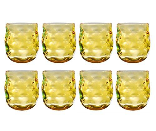 QG 14 oz Colorful Acrylic Plastic Wine Rocks Glass Tumbler Set of 8 Yellow -