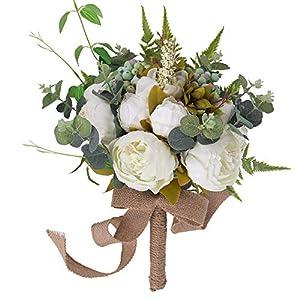 YILIYAJIA Wedding Bridal Bouquet Artificial Peony Flowers Berry Bride Wedding Holding Flowers (White)