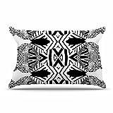 KESS InHouse Pom Graphic Design ''Africa'' Black White Pillow Sham, 40'' x 20''