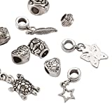 Kissitty 10-Piece Antique Silver Tone Large Hole Carved Dangle Spacer Beads Fit European Charm Snake Style Bracelet