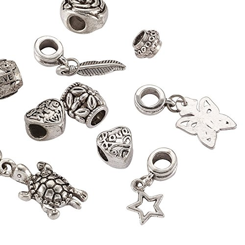 Kissitty 10-Piece Antique Silver Tone Large Hole Carved Dangle Spacer Beads Fit European Charm Snake Style Bracelet Carved Butterfly Beads