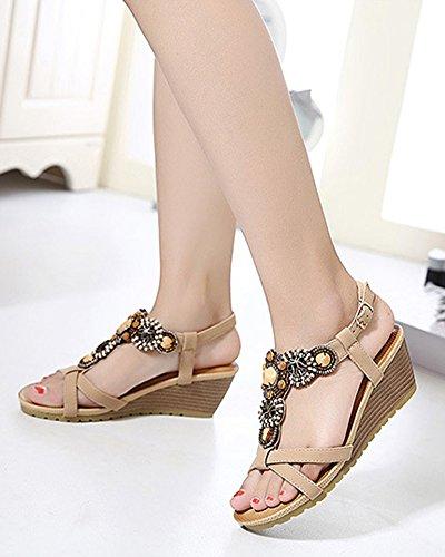 Sandalias Bohemia Del Romanas Zapatos De Hebilla Con Cuña Para Mujer Albaricoque