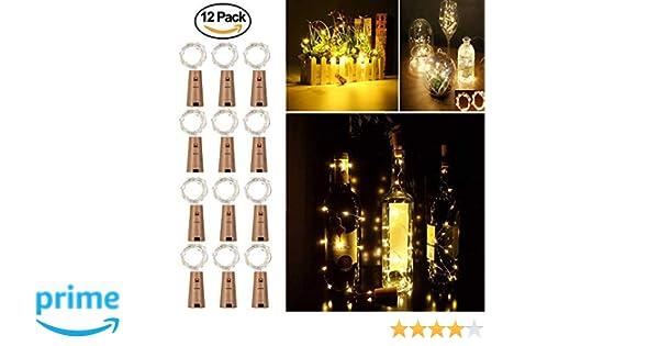 12 Pack Luces de Botella de Vino, Cadenas Luces para Botella de Luz - Tira de luz de corcho Tapa de botella, 2M/20 para Boda, Navidad, Fiesta, Hogar (Blanco ...