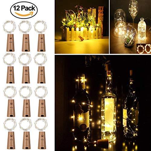 12 Pack Luces de Botella de Vino, Cadenas Luces para Botella de Luz - Tira