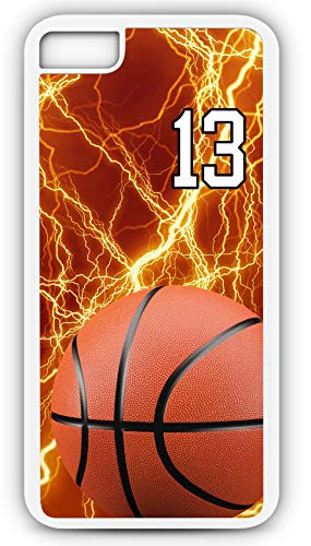iPhone 6 Plus 6+ Phone Case Basketball BK037Z by TYD Designs in White Rubber Choose Your Own Or Player Jersey Number 13 ()
