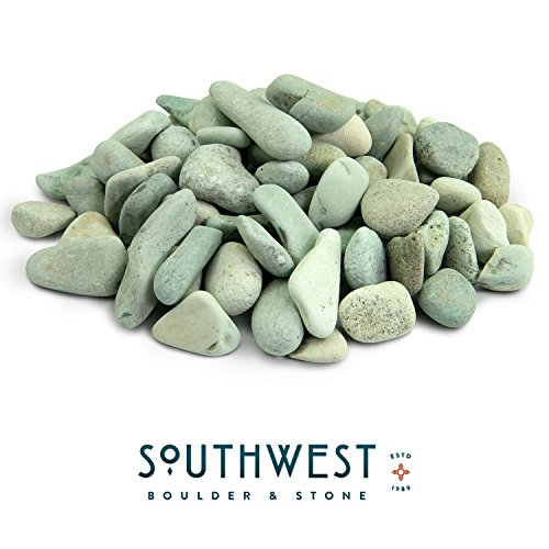 - Southwest Boulder & Stone Polynesian Pebble | 5 Pounds | Natural, Decorative Stones for Landscaping, Gardening, Potted Plants, and Terrariums (Green, 3 Inch - 5 Inch)