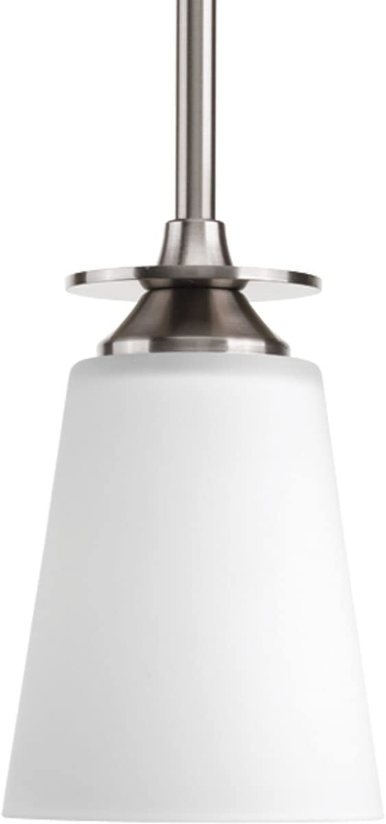 Brushed Nickel Progress Lighting P5108-09EBWB 1-Light Compact Fluorescent Mini-Pendant with Elegant Arm and Clear Etched Glass Using A GU24 Lamp