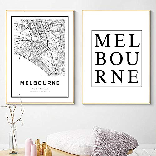Melbourne Map Print Australia City Road Map Art Canvas Painting, Black and White Pictures,Living Room Home Wall Decor 50x70 cmx2 No Frame (Melbourne Sale Furniture)