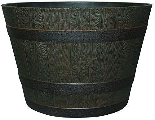 Mandycng Oak Resin Barrel Planter Whiskey Wood Iron Band Dia Rustic Pot Brown 22 1/2