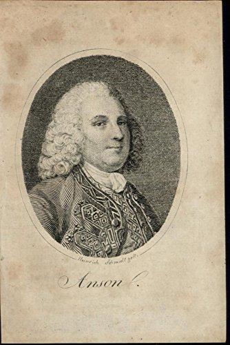 Admiral George Anson rare near miniature Portrait 1802 antique - Portraits Miniature Antique