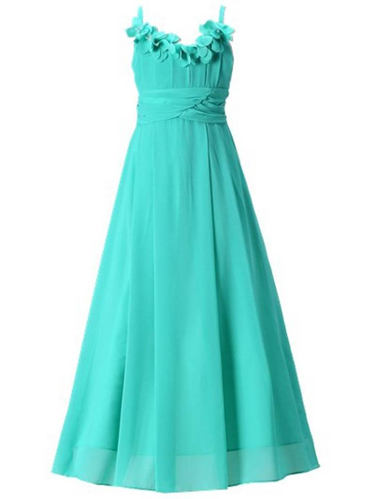 Happy Rose Long Chiffon Flower Girls Juniors Bridesmaid Dress Turquoise 12