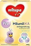 Milupa milumil HA Pre, Anfangsnahrung für allergiegefährdete Babys, von Geburt an, 3er Pack (3 x...
