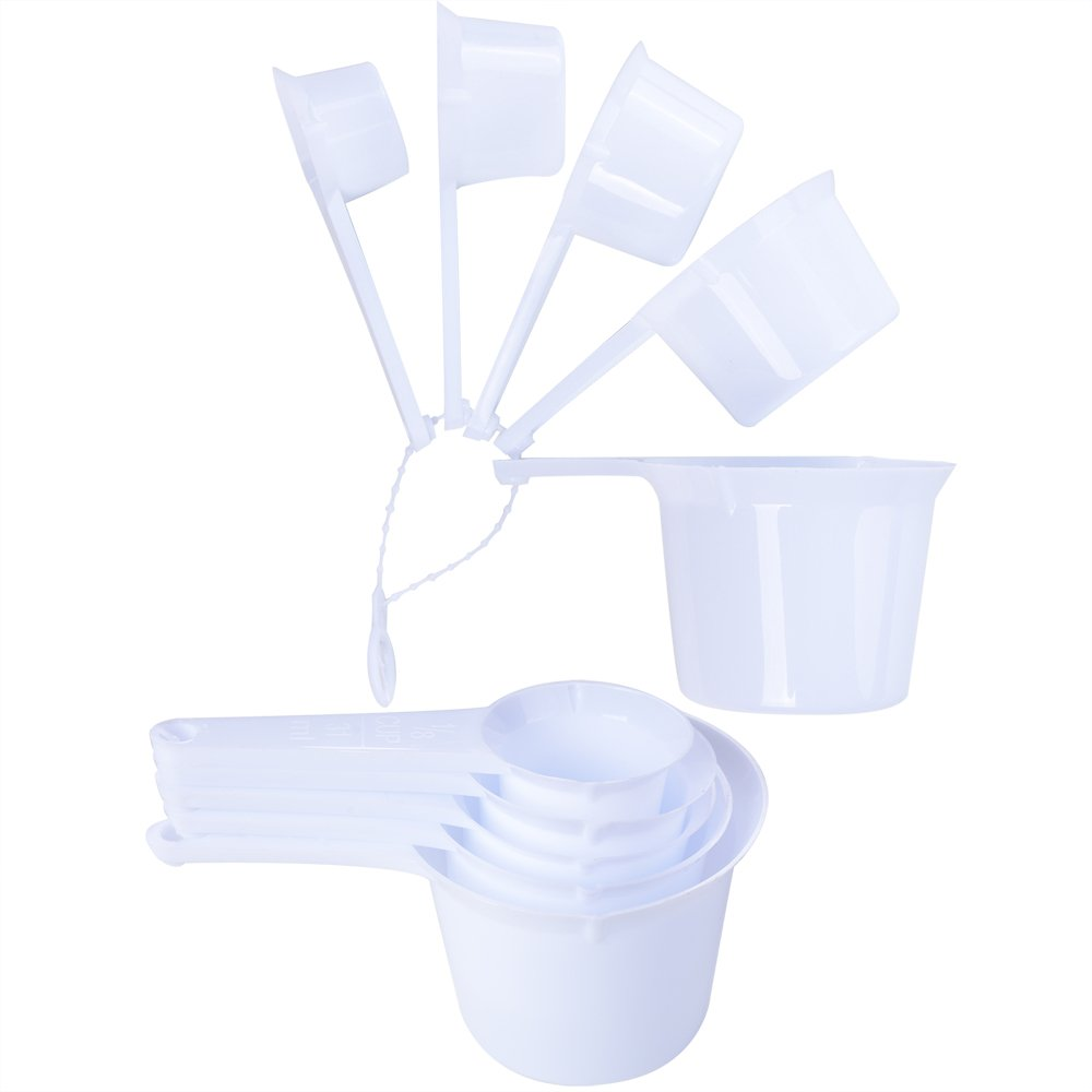 11pcs Plastic Kitchen Measuring Measure Spoons Cups Tablespoon Sets White New
