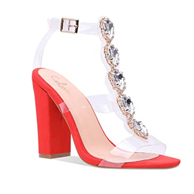 8472d25d0df Cdvintu Womens Cutout Gem Clear Chunky Heels Gladiator Transparent Strip  Sandals Ankle Strap Buckle Stilettos with Rhinestones