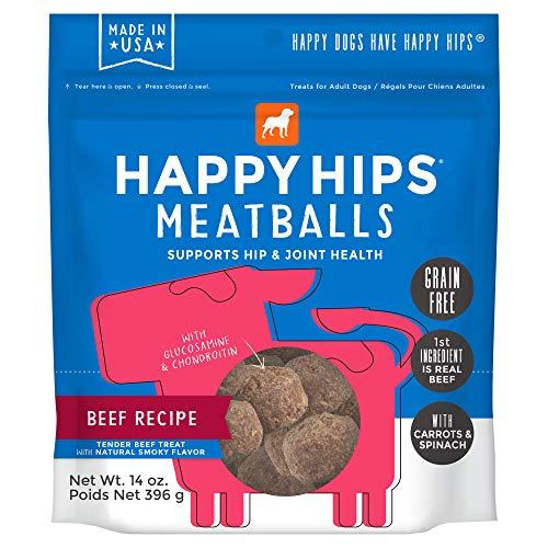 - Happy Hips Grain Free, Soft Meatball Dog Treats with Glucosamine & Chondroitin, Beef 14 oz