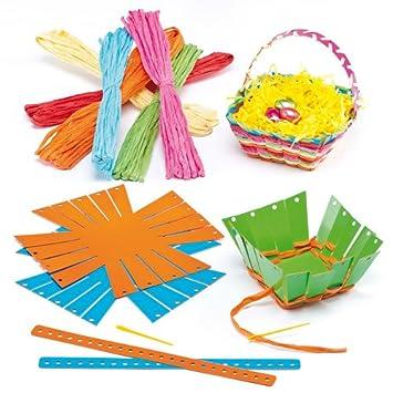 Baker Ross Flechtsets Für Osterkörbchen Mit Bast Für Kinder Zum Selbermachen Verzieren Und Aufstellen 4 Stück