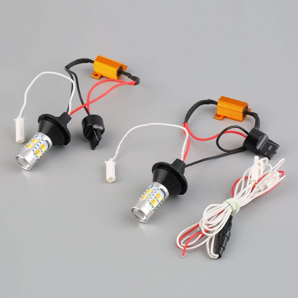 YTYC 2pcs 1156 Dual-Color Switchback LED Turn Signal Light DRL Function Kit