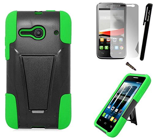 - For Alcatel One Touch Pixi Pulsar LTE Phone Case A460G Armor Hybrid Silicone Cover Hard Plastic w/ Stand+LCD Screen Protector+Stylus (Black/Green)