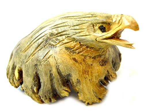 Hand Carved Eagle (Hand Carved Wooden Bald Eagle Head American Freedom Symbol Parasite Chinaberry Driftwood)