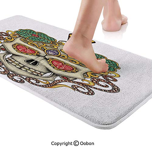 Pendant Aqua Master White - Day Of The Dead Rug Runner,Sugar Skull with Heart Pendants Floral Colorful Design Print Decorative,Plush Door Carpet Floor Kitchen Decor Mat with Non Slip Backing,71 X 24 Inches,White Ivory and Yellow