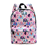 ABage Canvas School Travel Backpack Cute Lightweight Student Bookbag Casual Daypack for Girls and Boys, Pink
