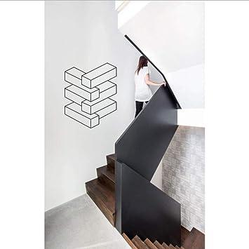 Ilusión visual: etiqueta de pared de vinilo de pila sin fin Arte geométrico Moda Decoración de pared Escalera Pared Sala de estar Dormitorio Decoración 42X53 CM: Amazon.es: Bricolaje y herramientas