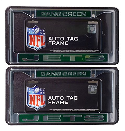 Green Mirror Jets New York - Rico New York Jets Gang Green NFL Chrome Metal (2) Laser Cut License Plate Frame Set