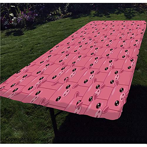 George Pig Dress Up (Pig Decor Polyester Fitted Tablecloth,Smily Square Faced Little Pigs Eyes Noses Crowd Herd of Animals Pattern Rectangular Elastic Edge Fitted Table Cover,Fits Rectangular Tables)