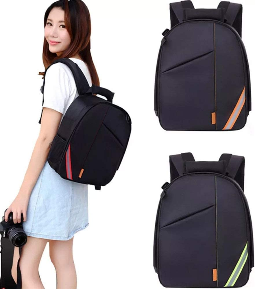 Camera Sling Bag Multi-Function Waterproof Shoulder Bag Backpack Rucksack with Reflective Stripe for DSLR Camera with Reflective Stripe Color : Orange, Size : One Size