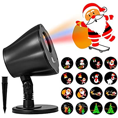1byone Christmas Decorations Light Projector, 8in1 Auto-Shifting Images and Auto-Switchable Pattern, Outdoor/Indoor Use, IP65 Water-Resistant