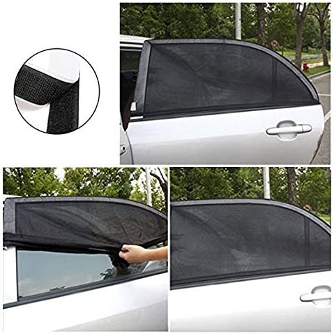 XL Pair of Car Window Shade for Sun UV Baby Insects Protection Universal Fit Adjustable Sun Shade Breathable Mesh Car Curtains Anti Mosquito Bug Window Net Car Rear Door Outdoor Camping Netting