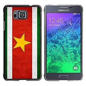 TopCaseStore / la caja del caucho duro de la cubierta de protección de la piel - Suriname Grunge Flag - Samsung GALAXY ALPHA G850