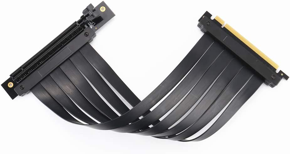 PCI Express Flexible High Speed GPU Riser Extender Card Adapter,Flexible Cable Card Extension Port Adapter 25cm, 90 Degrees New PCI-E 3.0 x16 Extension Riser Cable