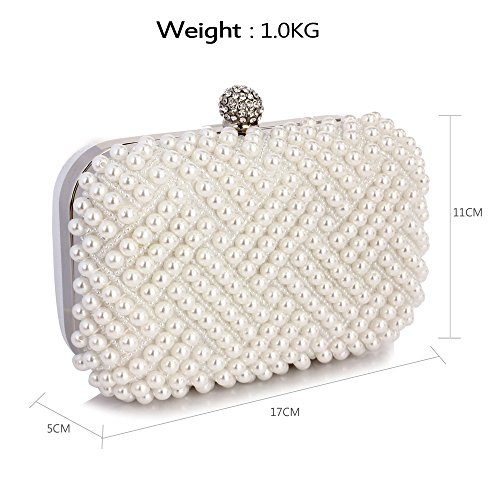 Clutch White Bridal Bag 1 Box Design Purse Wedding Womens Prom Evening Hardcase Party Beaded Rhinestone Handbag Ladies Pearl 5qzEwT0