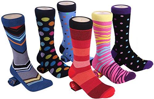 Marino Mens Dress Socks - Fun Colorful Socks for Men - Cotton Funky Socks - 6 Pack - Fun Collection - 13-15