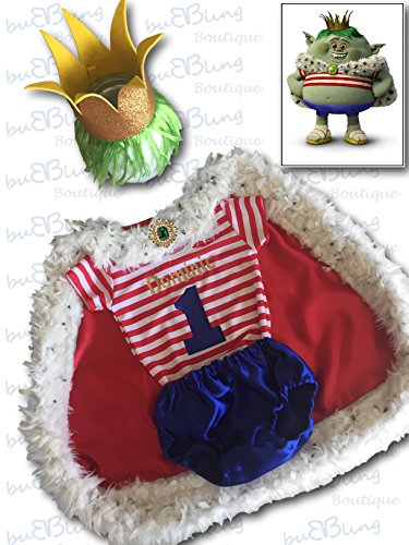 1st Birthday Cake Smash Outfit - Baby Boy Trolls Prince Gristle by BuB Bling Boutique