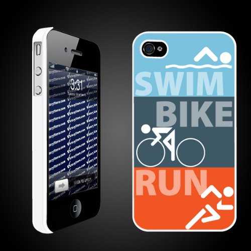 "Triathlon Themed ""Swim Bike Run"" - White Protective iPhone 4/iPhone 4S Hard Case"