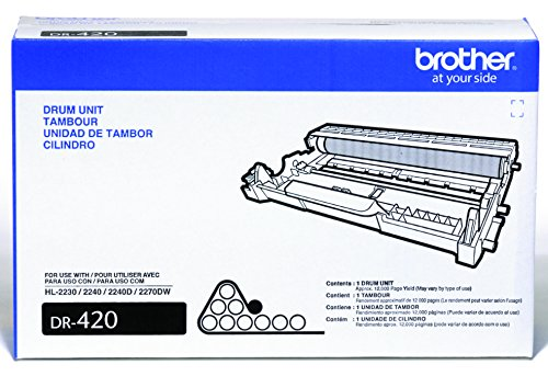 Drum Unit Printer Cartridges - Brother Genuine Drum Unit, DR420, Seamless Integration, Yields Up to 12,000 pages, Black