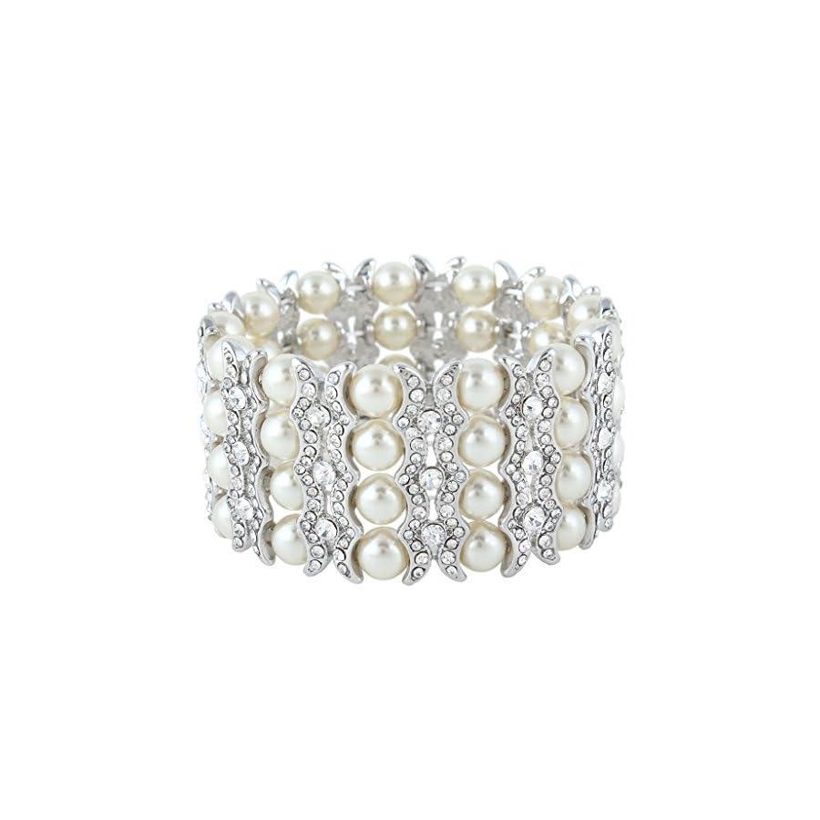 EVER FAITH Women's Austrian Crystal Cream Simulated Pearl Layers Stretch Bracelet Clear