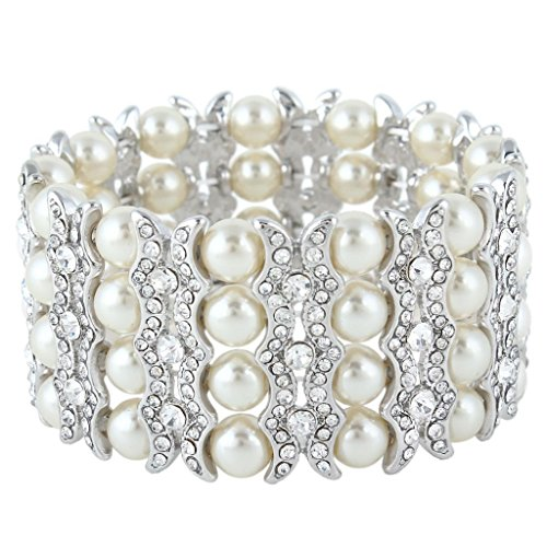 EVER FAITH Women's Austrian Crystal Cream Simulated Pearl Layers Stretch Bracelet Clear
