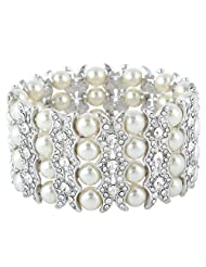 Ever Faith Silver-Tone Austrian Crystal Simulated Pearl Bridal Layers Stretch Bracelet Clear N04472-1